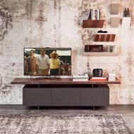 wood tv stand in modern room