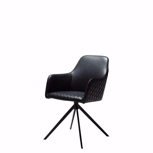 图片 TWINE Swivel Chair - Black Leather