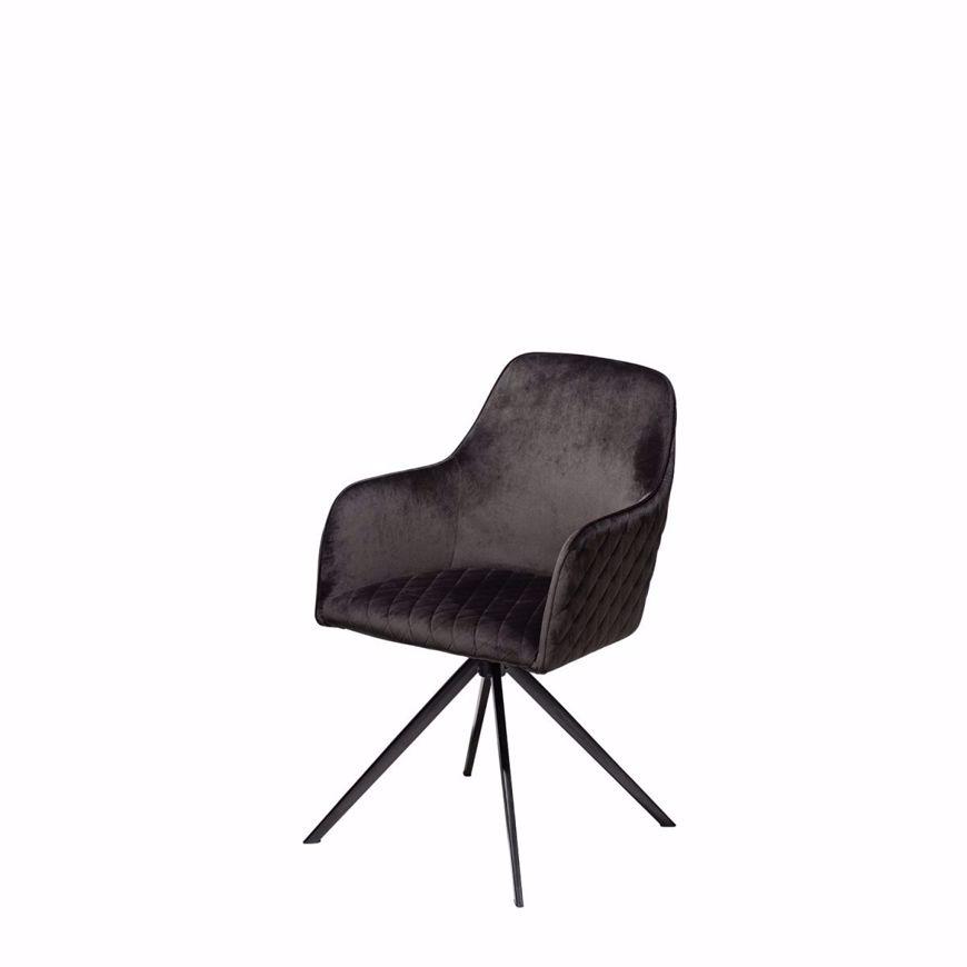 图片 TWINE Swivel Chair - Black Velvet