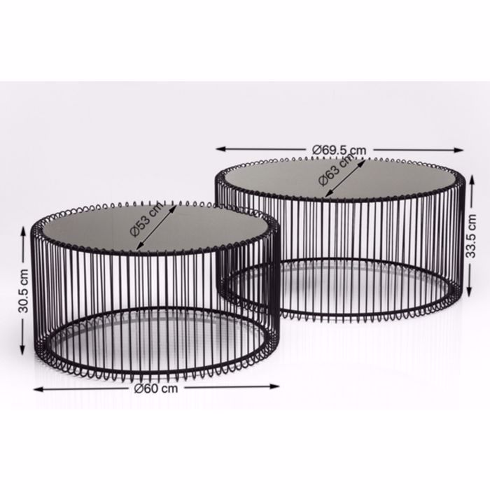 Image sur Wire Coffee Table Set - Black