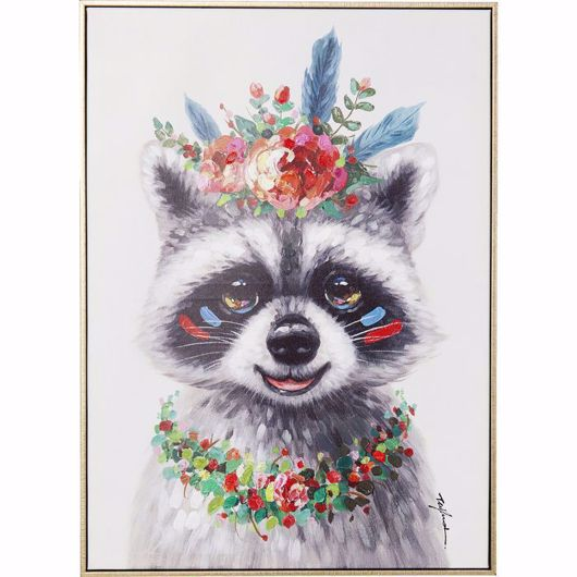 图片 Raccoon Flowers Hand Touched