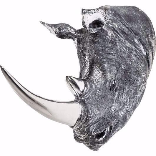 图片 Deco Rhino Head - Antique Silver