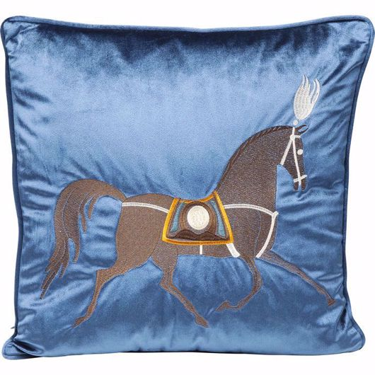 Picture of Classy Horse Cushion - Blue