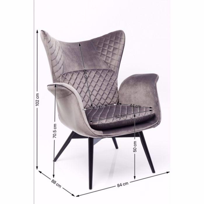 Picture of Tudor Velvet  Armchair - Silver Grey